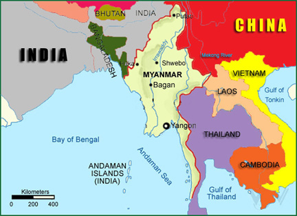 Basic facts about myanmar and the bay of bengal and on the west by bangladesh and india it is located between latitudes 09 32n and 28 31n and longitudes 92 10e and 101 11e gumiabroncs Gallery