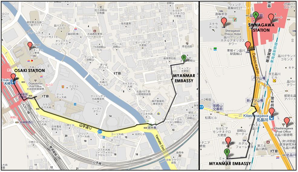 駐日ミャンマー連邦共和国大使館MAP
