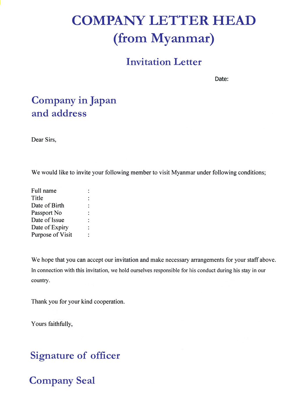 Invitation Letter from a company or organization or sponsor or host in ...